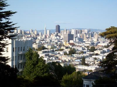 Image of the city skyscrapers from the Buena Vista Park