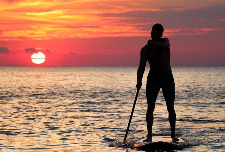 SUP paddler in sunset
