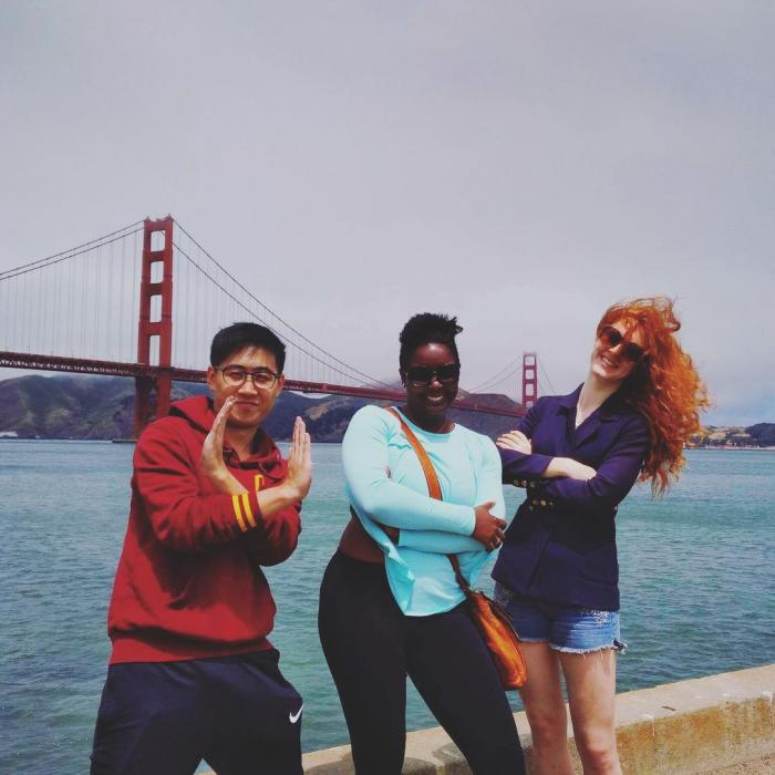 Happy hostel guests at Golden Gate Bridge