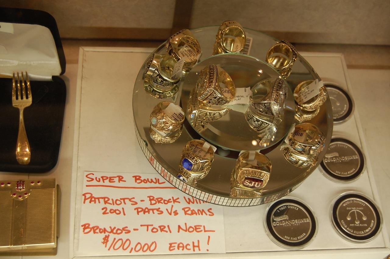 Patriots Bronos Super Bowl Rings